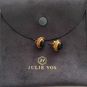 Julie Vos Pierced Statement Earrings - blue semi precious stone
